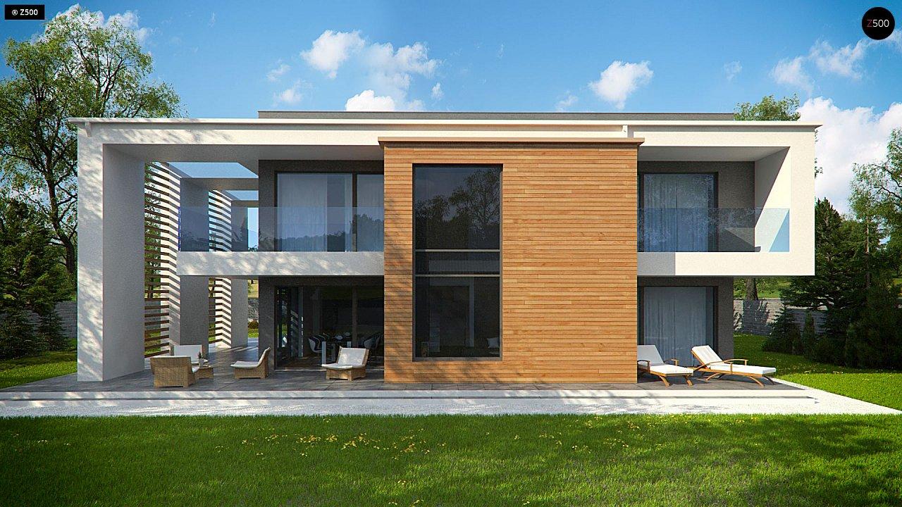 Современный двухэтажный дом с большим остеклением и гаражом на две машины 9