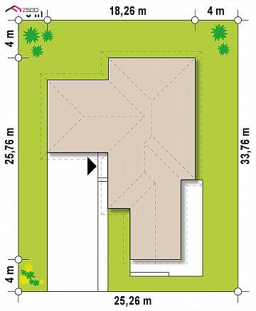 Увеличенная версия Z402 одноэтажный дом с гаражом на два автомобиля план помещений 1