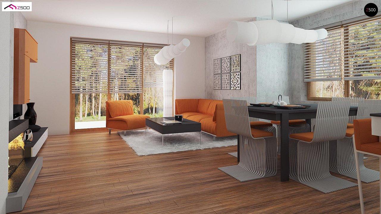 Элегантный дом простой формы со встроенным гаражом, эркером и балконом над ним. 6