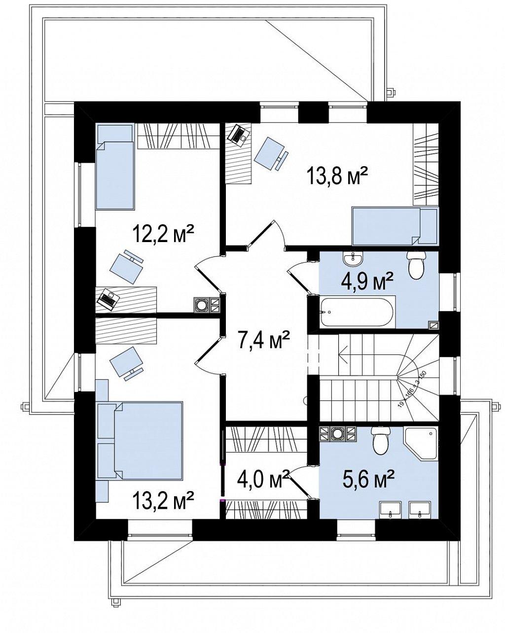 Простой аккуратный проект двухэтажного дома с плоской кровлей план помещений 2