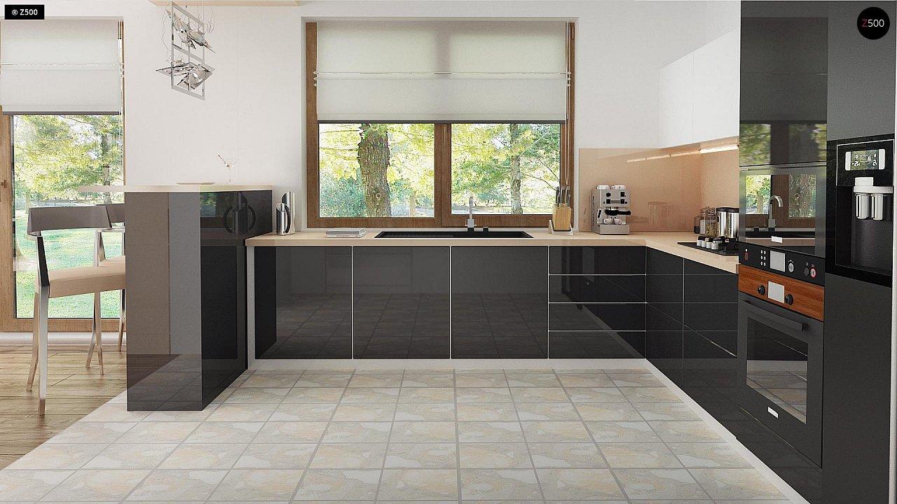 Проект функционального уютного дома с мансардными окнами и оригинальной отделкой фасадов. 11
