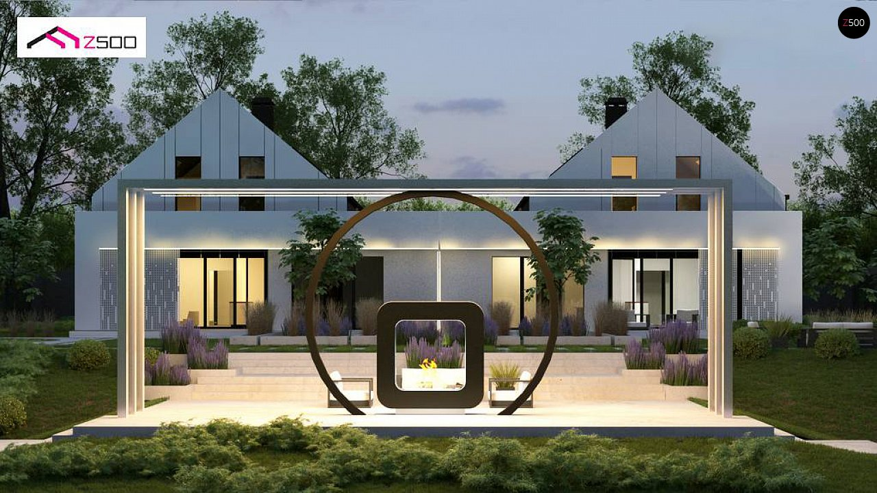 Современный двухсемейный дом с двускатной крышей 4