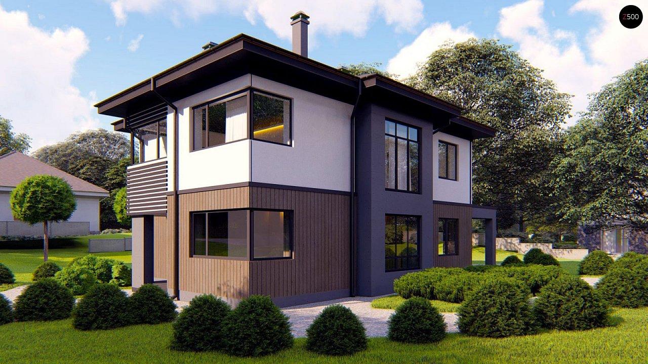 Проект двухэтажного просторного дома с панорамными окнами и камином. 2