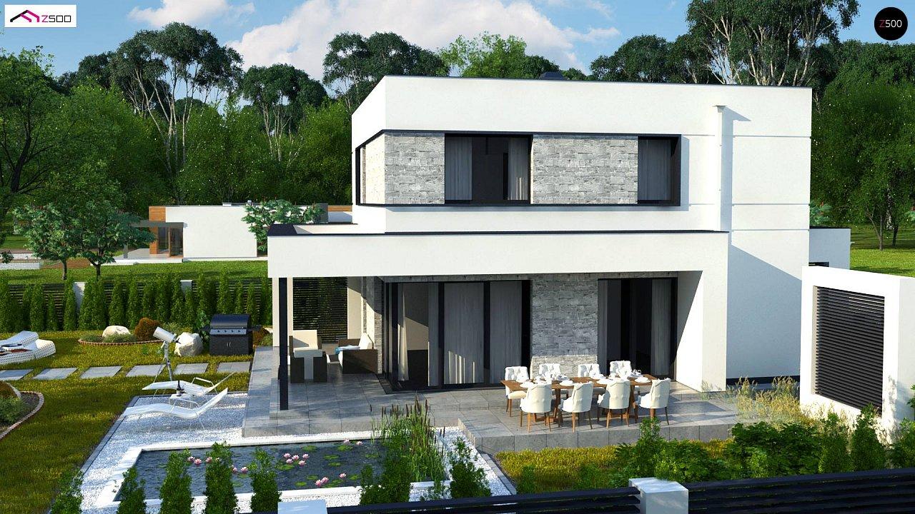 Проект двухэтажного дома с дополнительной комнатой на первом этаже и гаражом на один автомобиль. 4