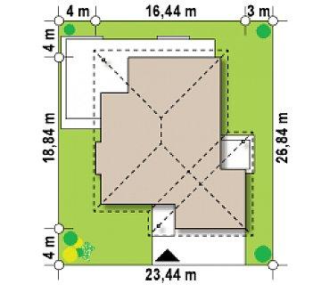 Одноэтажный просторный дом с эркером и крытой террасой. план помещений 1