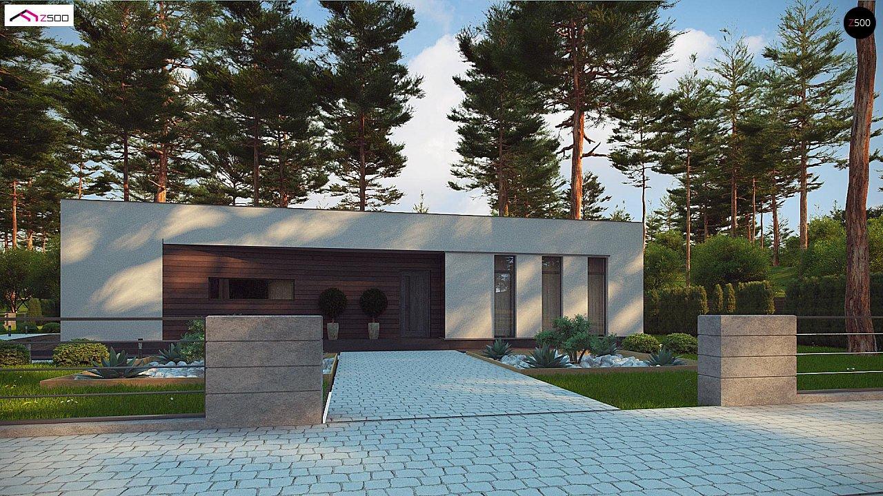 Современный одноэтажный дом с боковой террасой 2