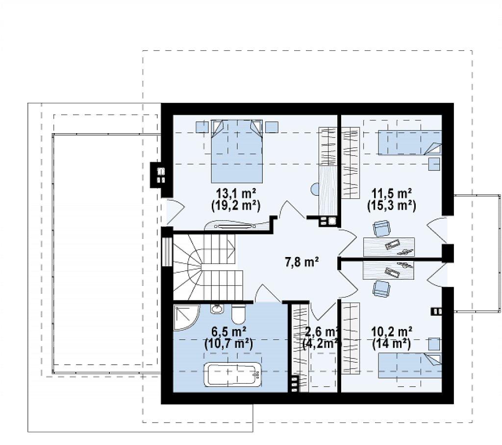 Удобный дом с эркером, балконом и террасой над гаражом. план помещений 2