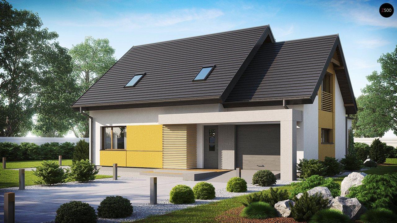 Проект аккуратного мансардного дома, с современным дизайном фасадов. 1