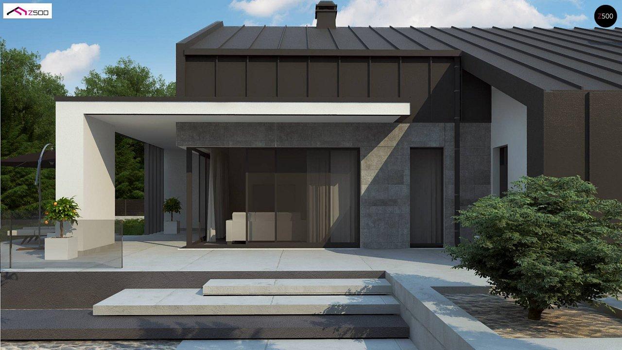 Современный одноэтажный дом с двускатной крышей и большой террасой 4