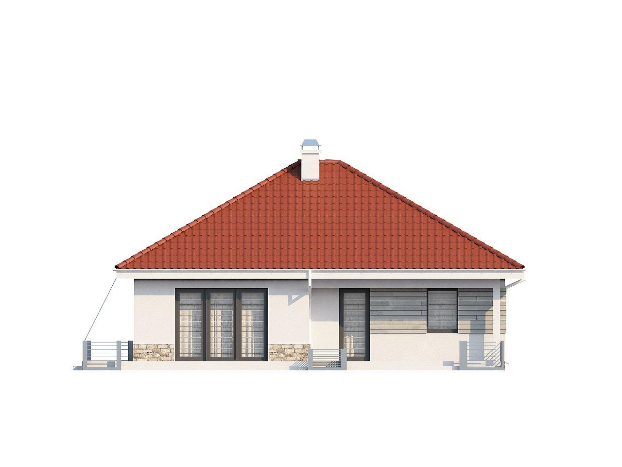 Проект компактного и функционального одноэтажного дома с фронтальным расположением дневной зоны. 6