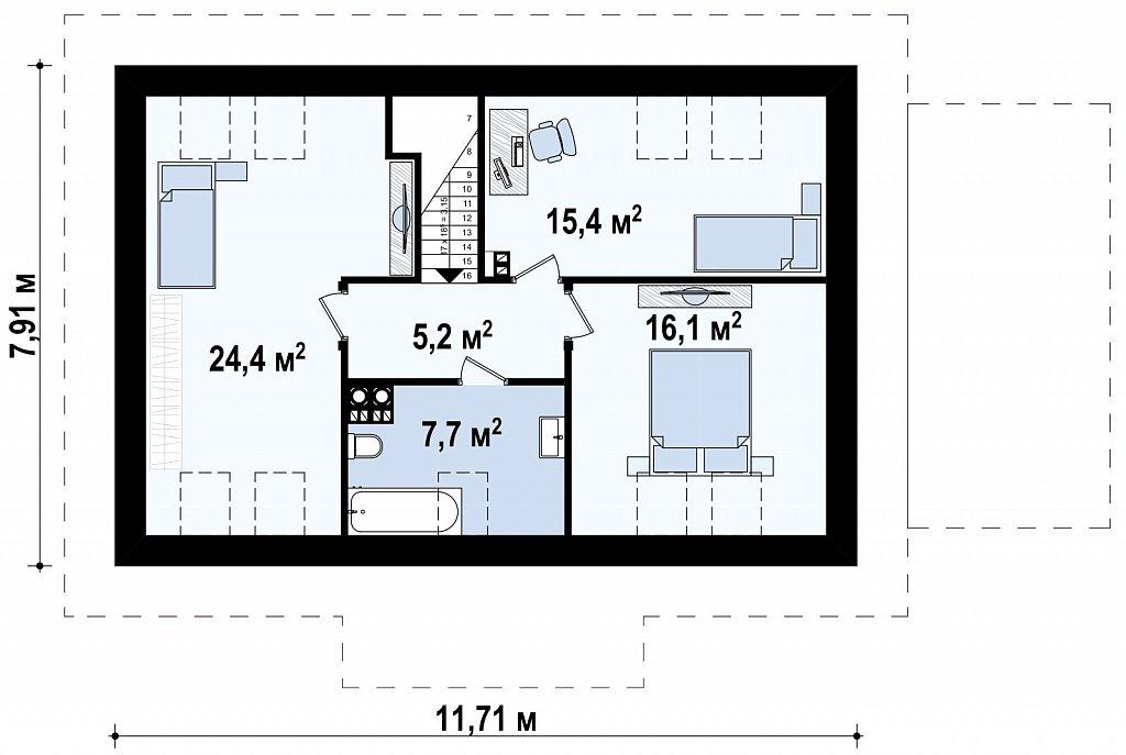 Версия проекта Z12 с мансардой и гаражом. план помещений 2