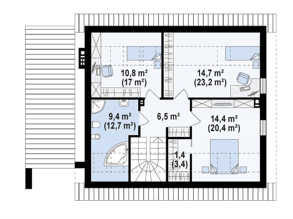 Дом с мансардой с гаражом с левой стороны для одной машины. план помещений 2