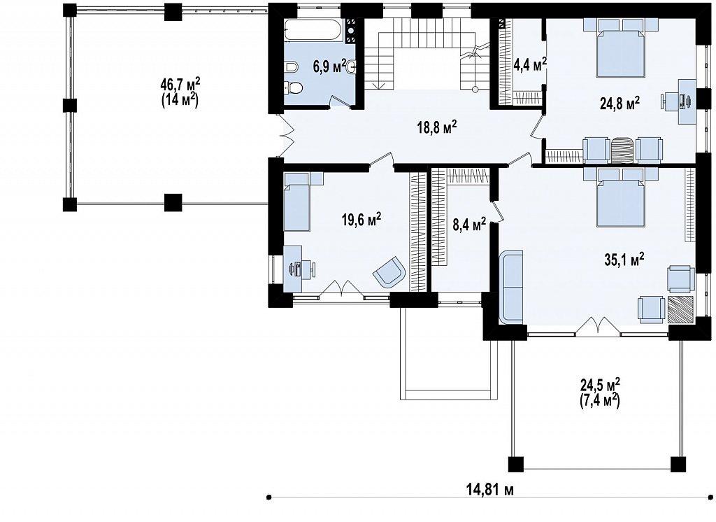 Проект стильного и просторного дома с элементами классической архитектуры. план помещений 2