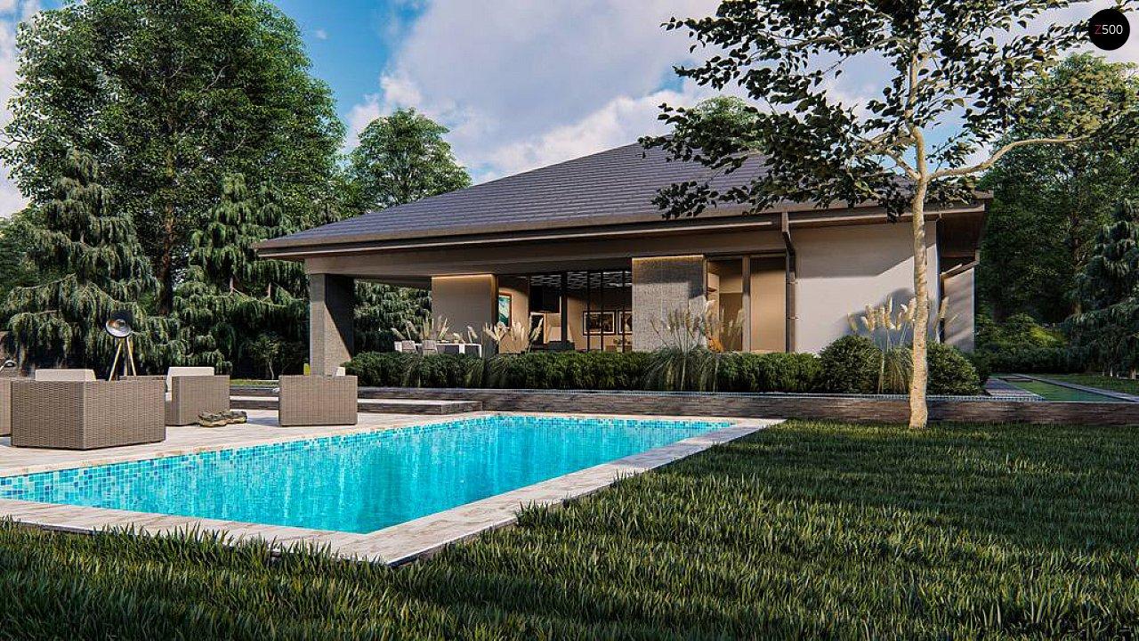 Современный одноэтажный проект дома с многоскатной крышей и гаражом на две машины - фото 2