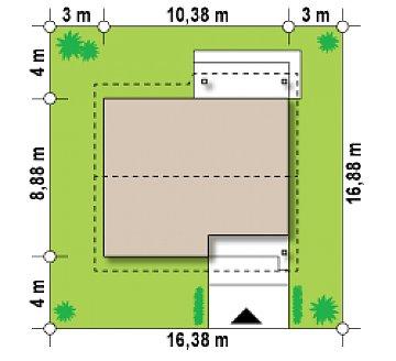 Аккуратный небольшой одноэтажный дом простой конструкции с кухней со стороны сада. план помещений 1