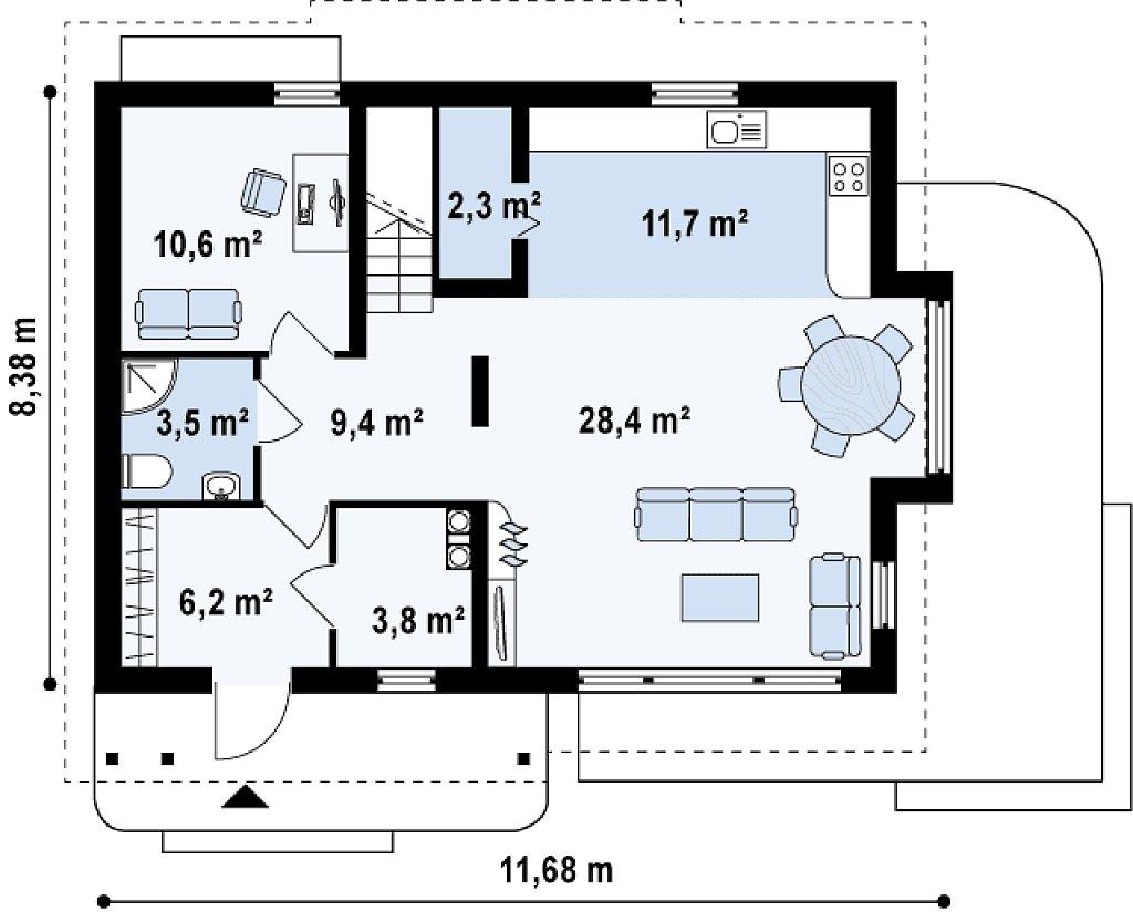 Функциональный дом с кабинетом на первом этаже, удобный для участка с южным въездом. план помещений 1