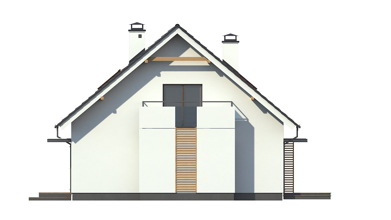 Проект простого в строительстве дома с двускатной кровлей. 20