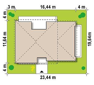 Одноэтажный практичный дом с плоской крышей современного дизайна. план помещений 1
