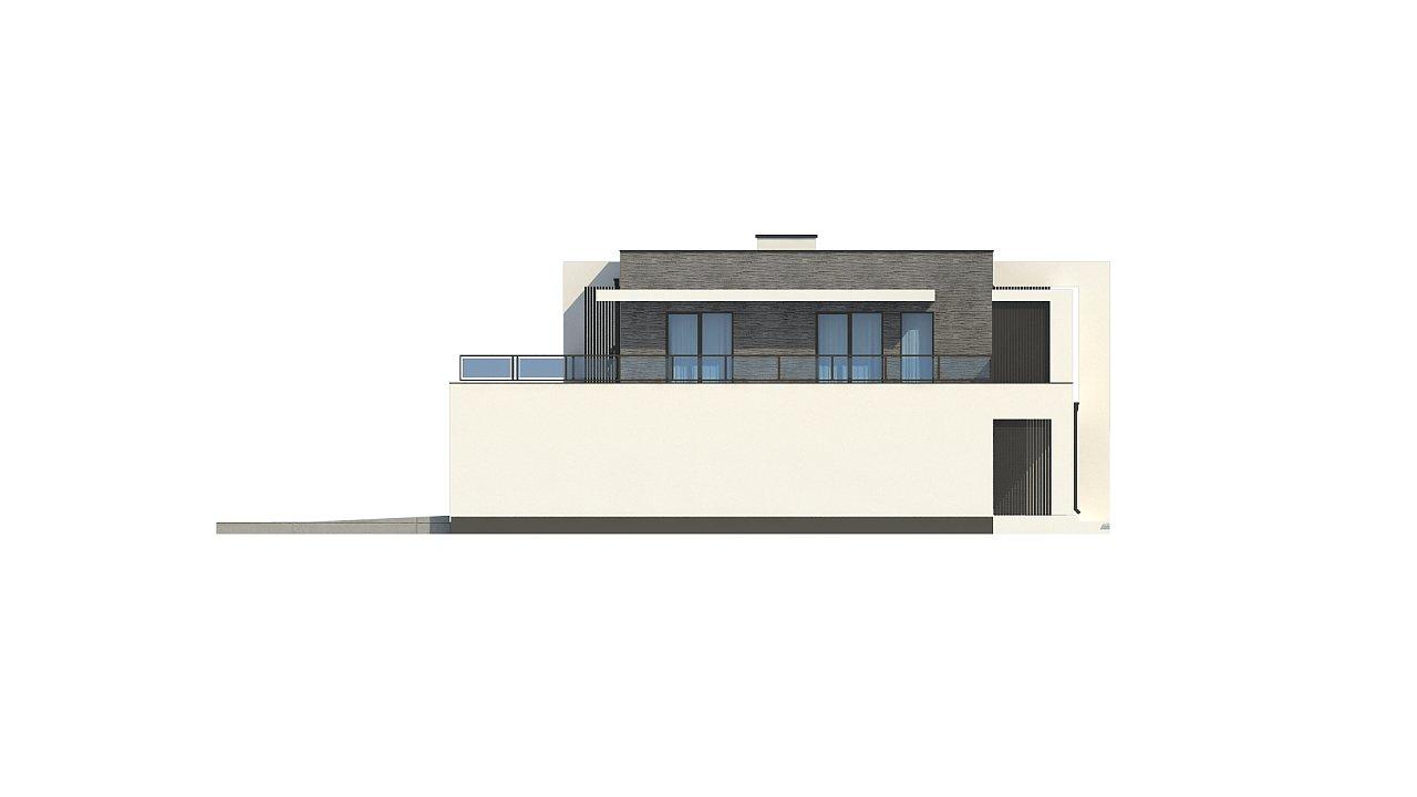 Современный проект домов-близнецов с большим гаражом и террасой на втором этаже. 16