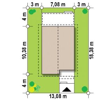 Простой и удобный дом для узкого участка с высокой аттиковой стеной. план помещений 1
