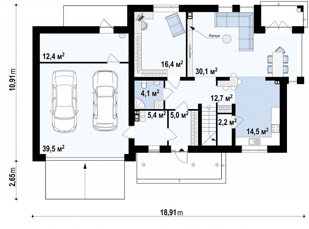 Версия проекта Zx12 с гаражом для двух машин. план помещений 1