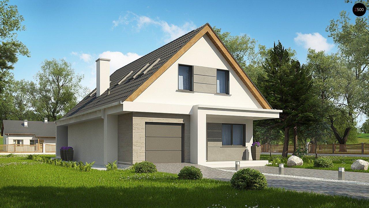 Проект классического мансардного дома с монохромным дизайном экстерьера 4