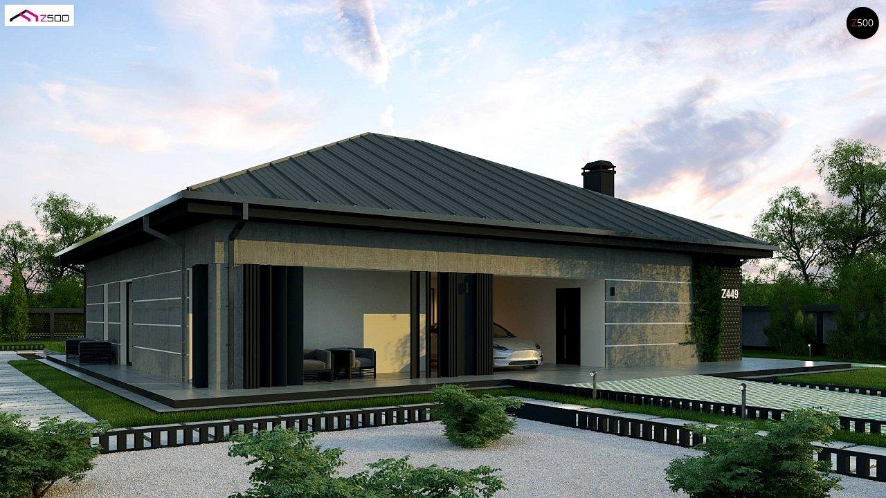 Проект дома с одноуровневой оригинальной планировкой и современным экстерьером. 1