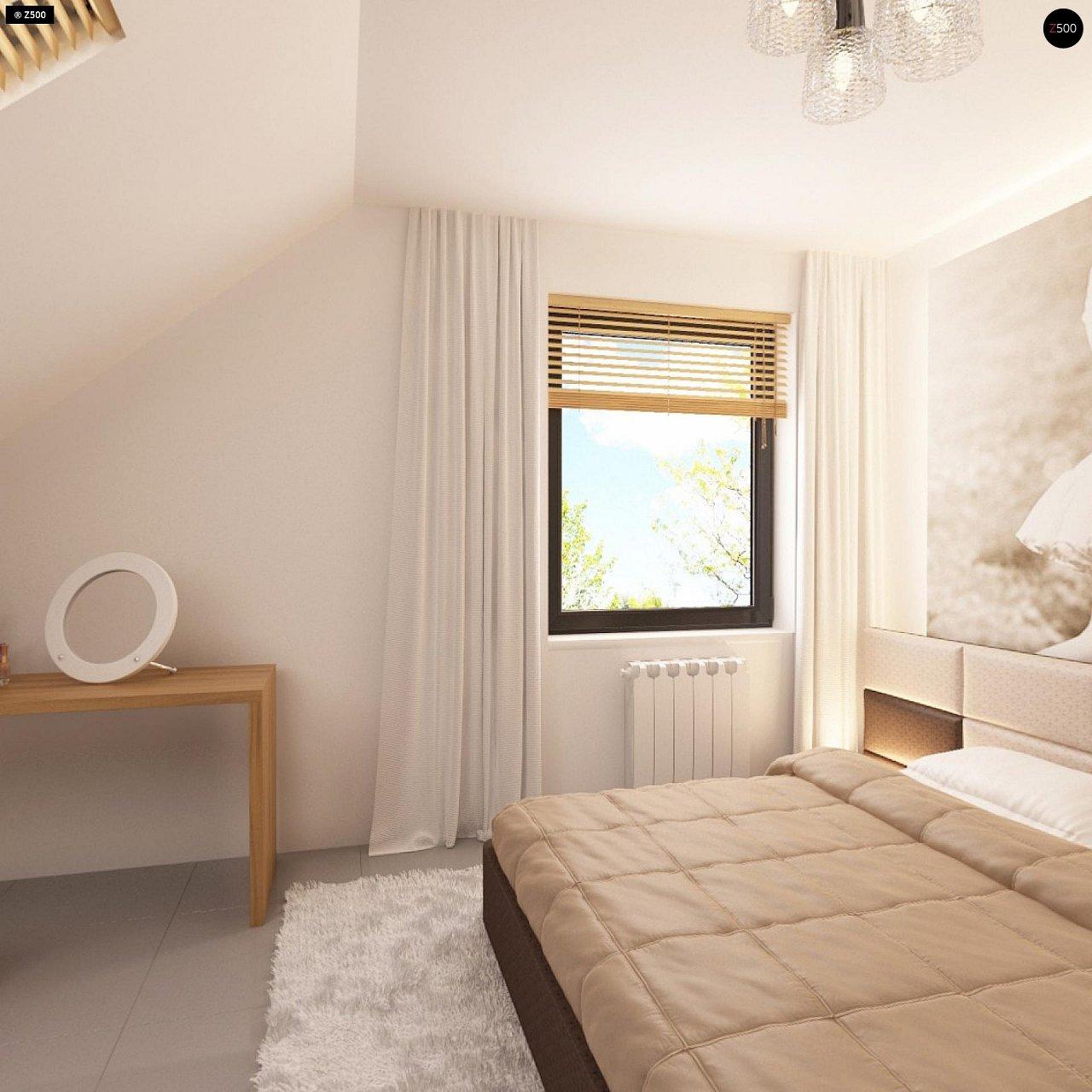 Проект функционального дома с эркером в столовой дополнительной спальней на первом этаже. 14