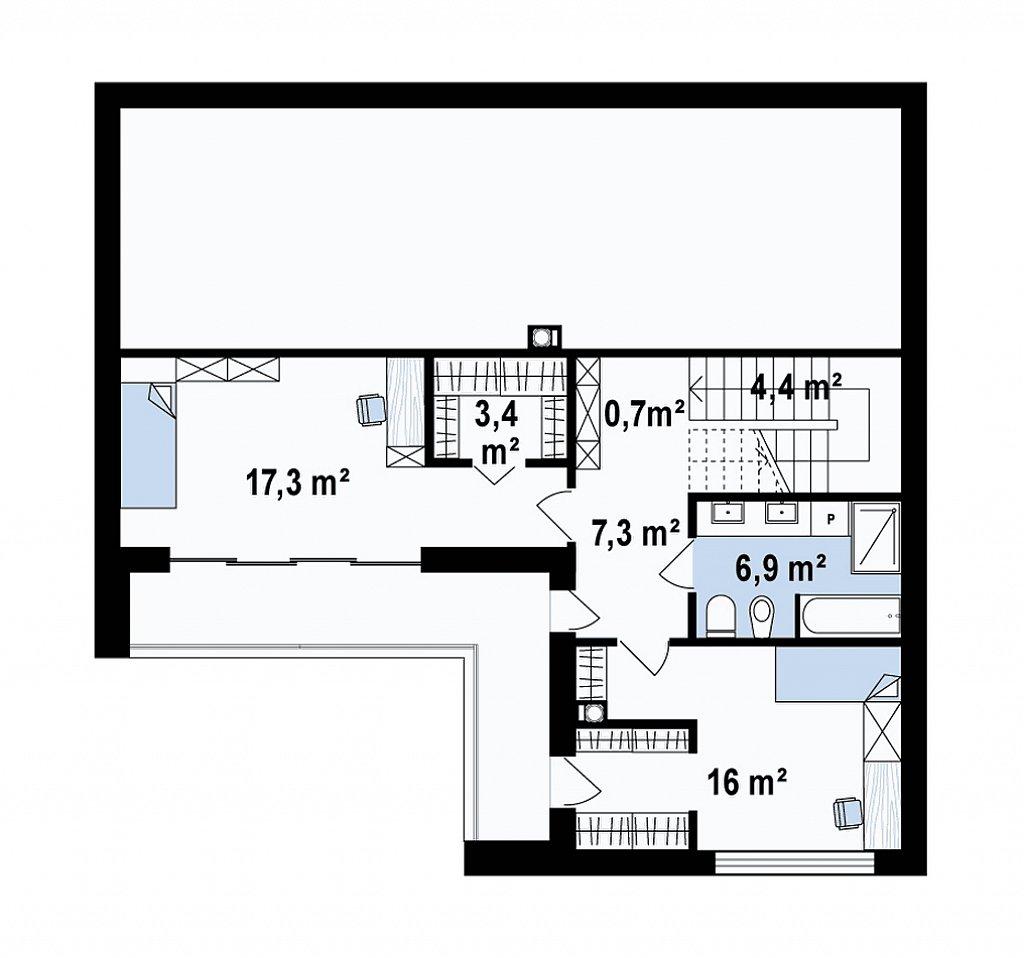 Проект современного двухэтажного дома с оригинальным экстерьером и гаражом на один автомобиль. план помещений 2