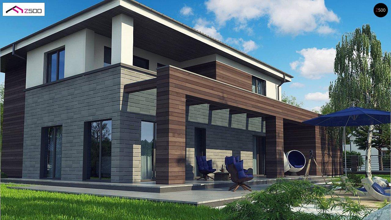 Проект двухэтажного дома простой формы с боковым гаражом - фото 4