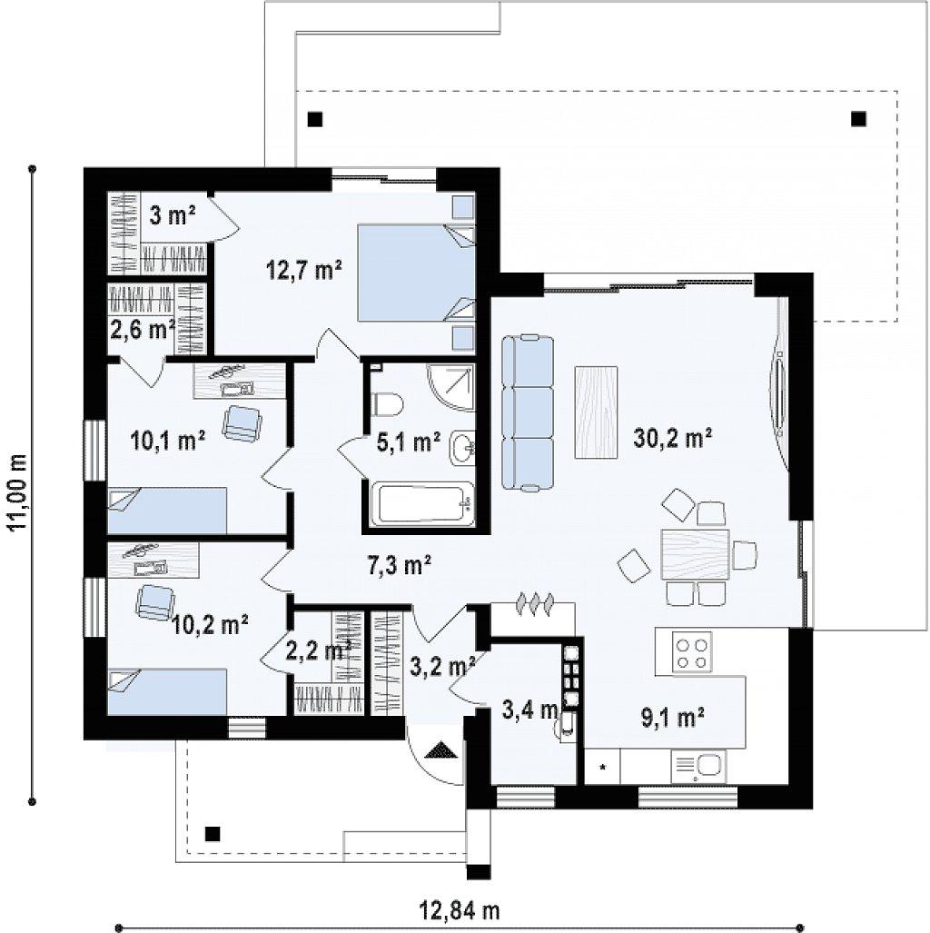 Увеличенная версия проекта Zx105 с гардеробными в каждой спальне. план помещений 1