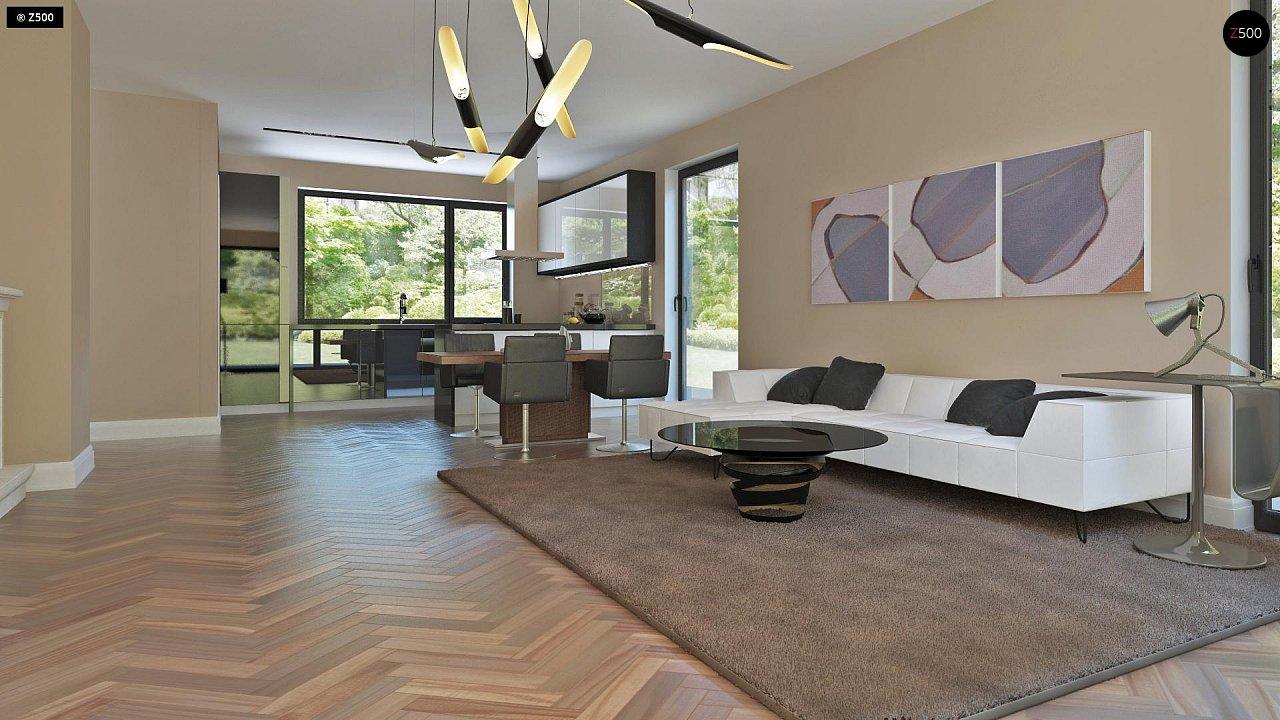 Аккуратный дом простой традиционной формы с гаражом и дополнительной спальней на первом этаже. 5