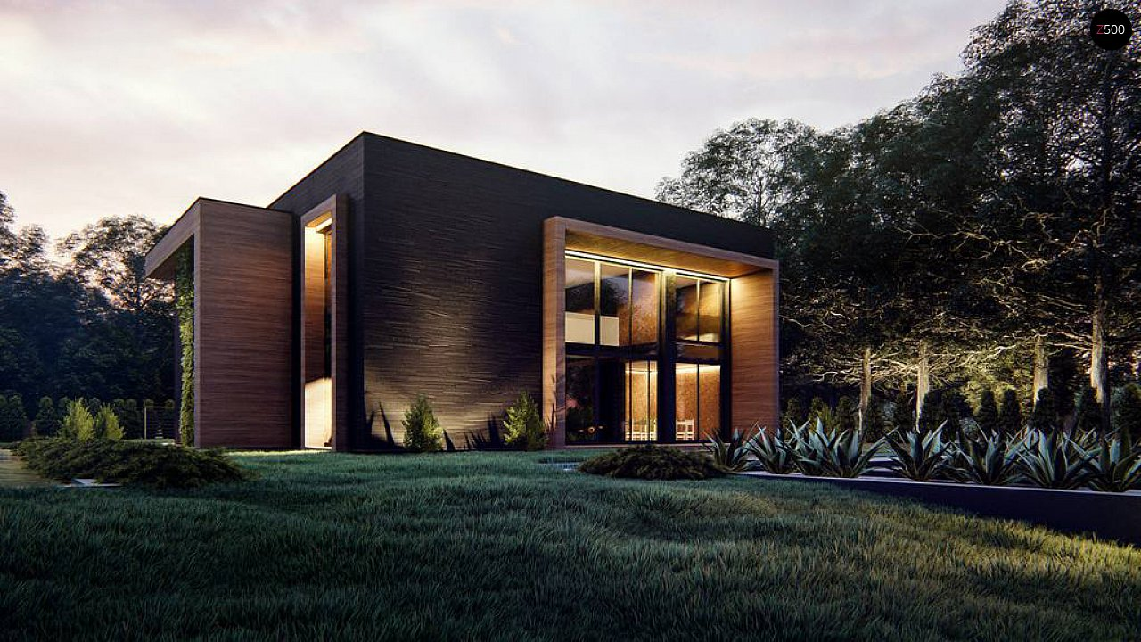 Современный двухэтажный дом с плоской кровлей 2