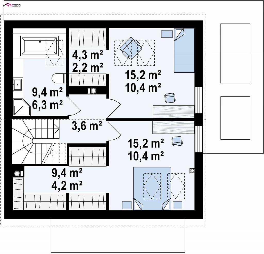 Проект мансардного дачного дома с комнатой на первом этаже план помещений 2