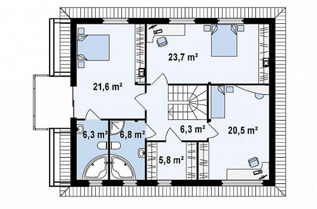 Двухэтажный современный дом под сейсмику план помещений 2