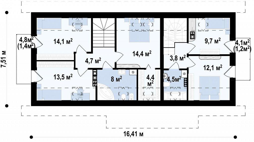 Простой и функциональный двухсемейный дом с отдельными входами. план помещений 2