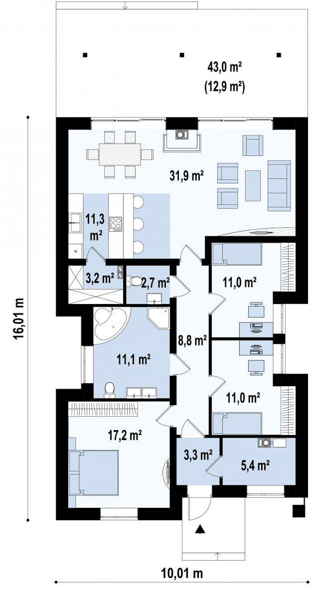 Одноэтажный коттедж с четырехскатной кровлей план помещений 1