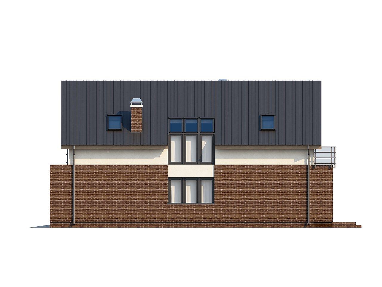 Дом в традиционном стиле с мансардой, со встроенным гаражом, подходящий для узкого участка. 6