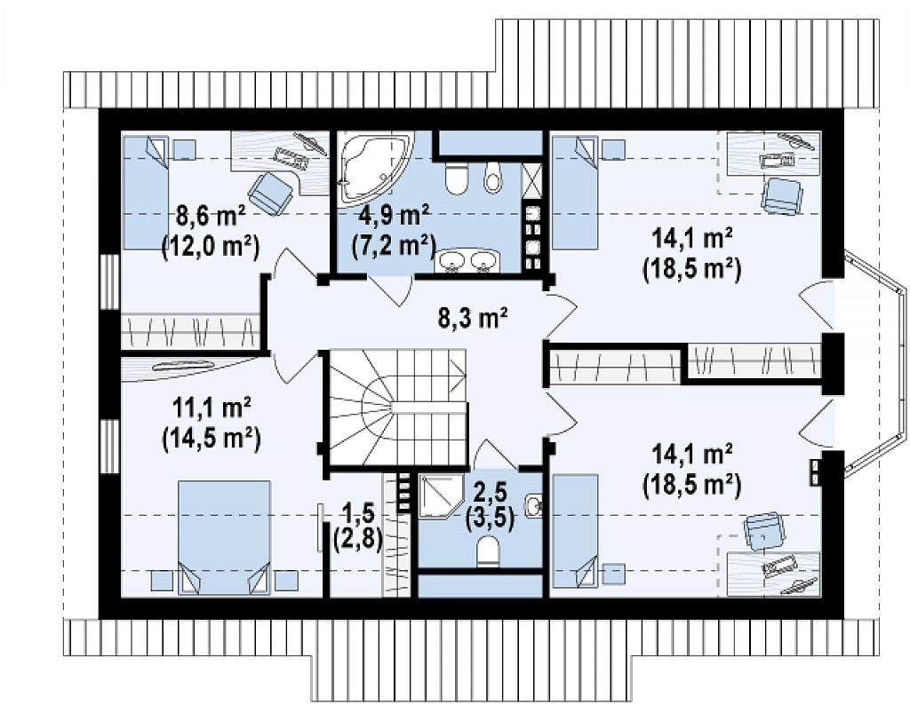Элегантный дом простой формы со встроенным гаражом, эркером и балконом над ним. план помещений 2