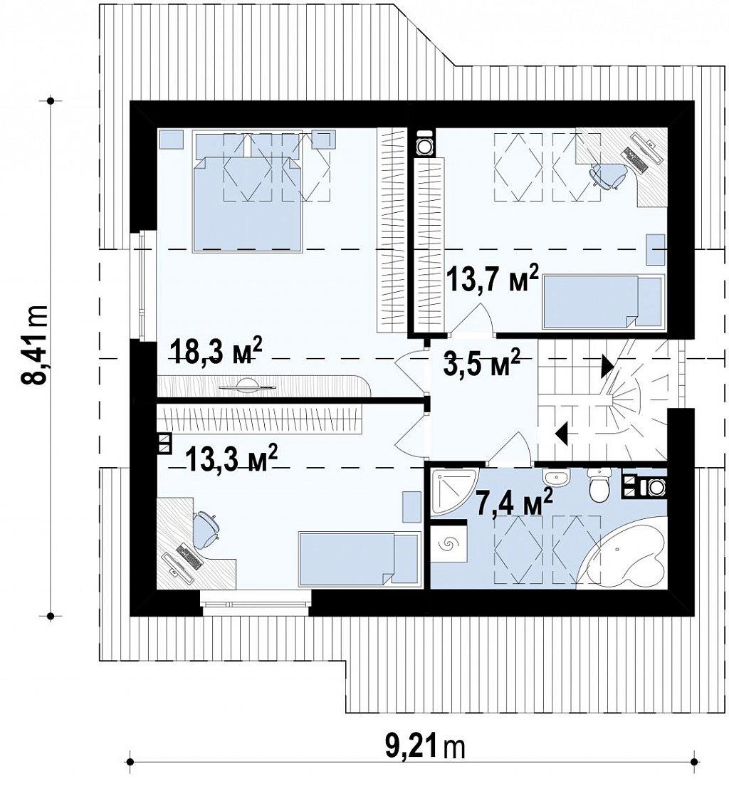 Проект небольшого практичного дома, выгодного в строительстве и эксплуатации. план помещений 2