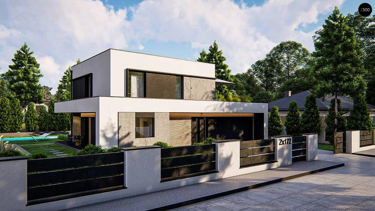 Cовременный двухэтажный дом с плоской крышей и гаражом на две машины. 2