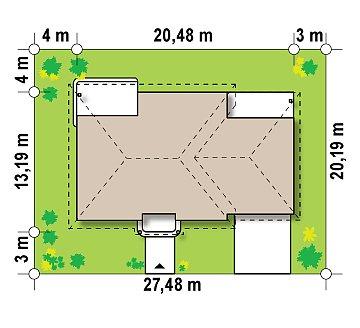 Стильный традиционный одноэтажный дом с гаражом для двух машин. план помещений 1