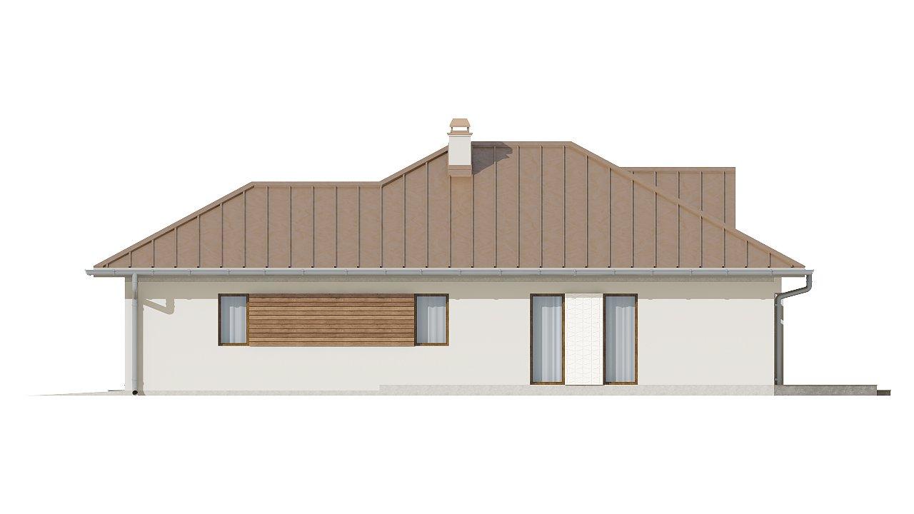 Проект удобного одноэтажного дома с большой угловой террасой. 5