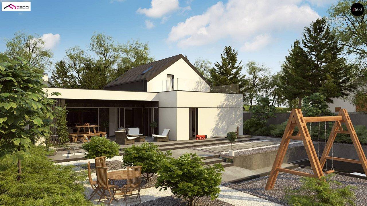 Проект дома с мансардой в европейском стиле с гаражом на одно авто. - фото 2