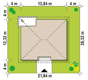Одноэтажный коттедж с четырьмя спальнями план помещений 1