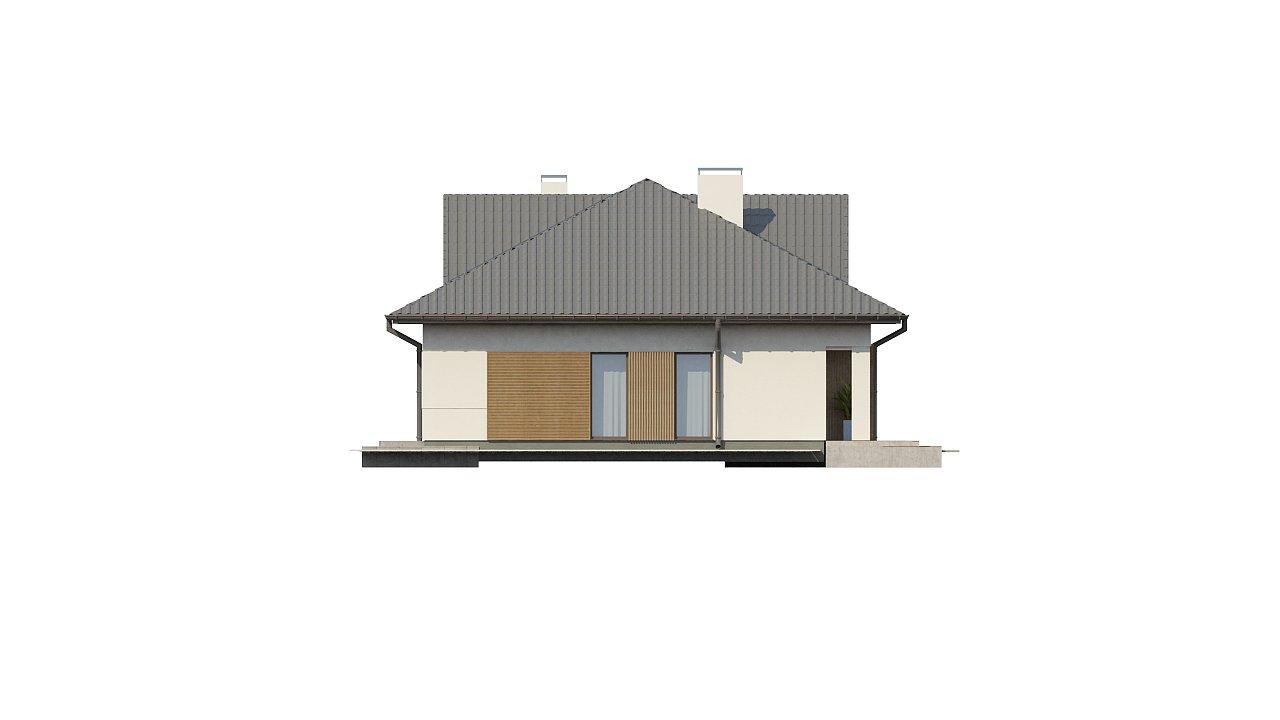 Проект комфортного одноэтажного дома с оригинальными фасадными окнами на чердаке. 15