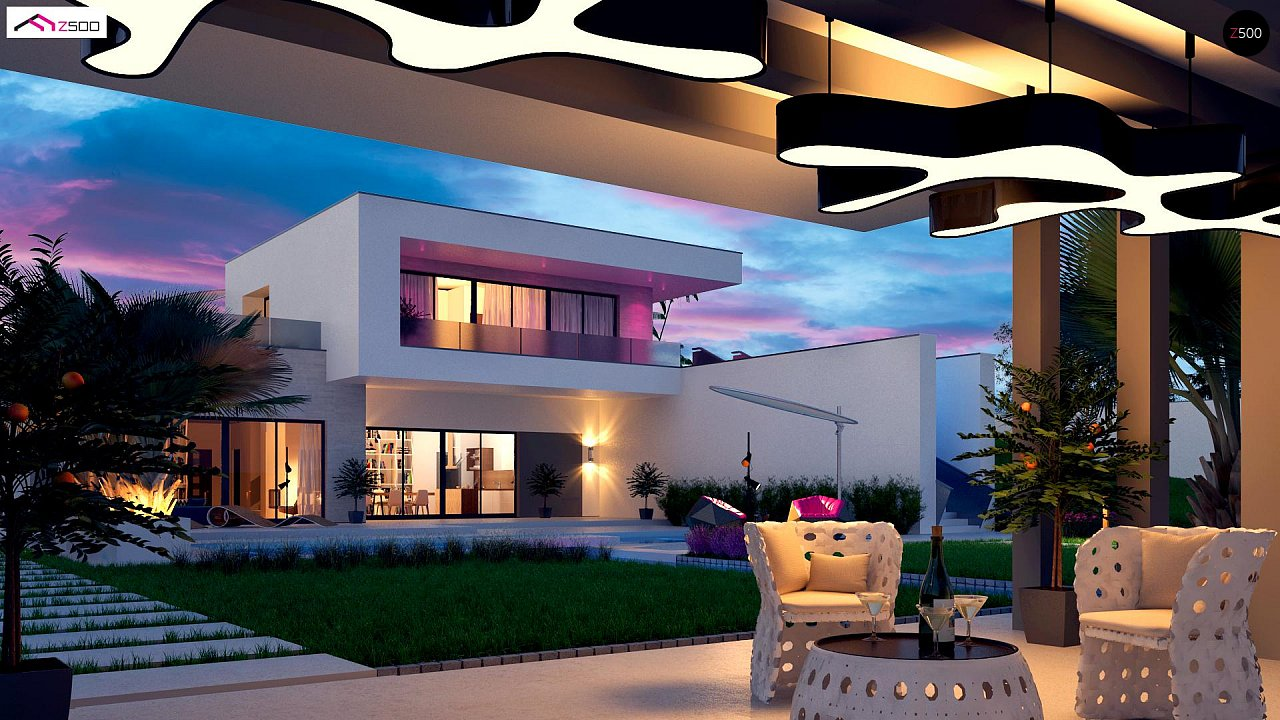 Стильный современный проект двухэтажного дома, подходит для строительства на участке со склоном. 1