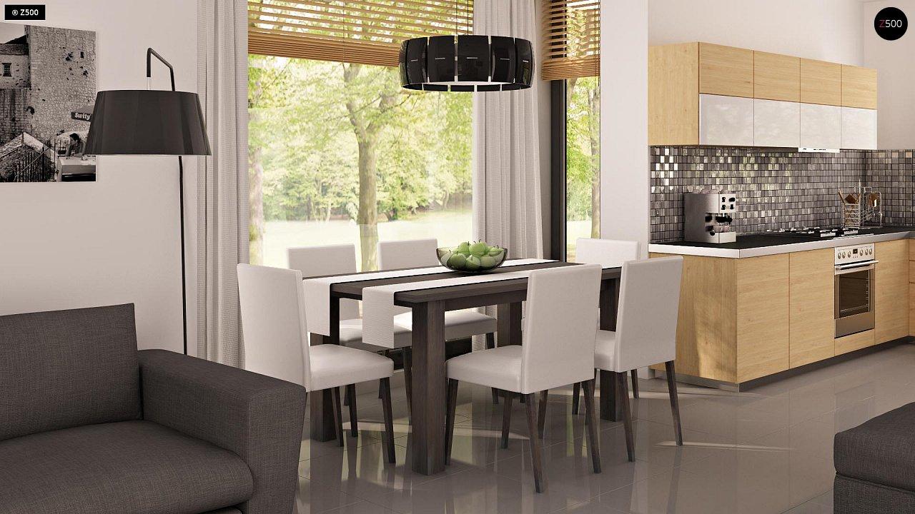 Проект функционального дома с эркером в столовой дополнительной спальней на первом этаже. 3