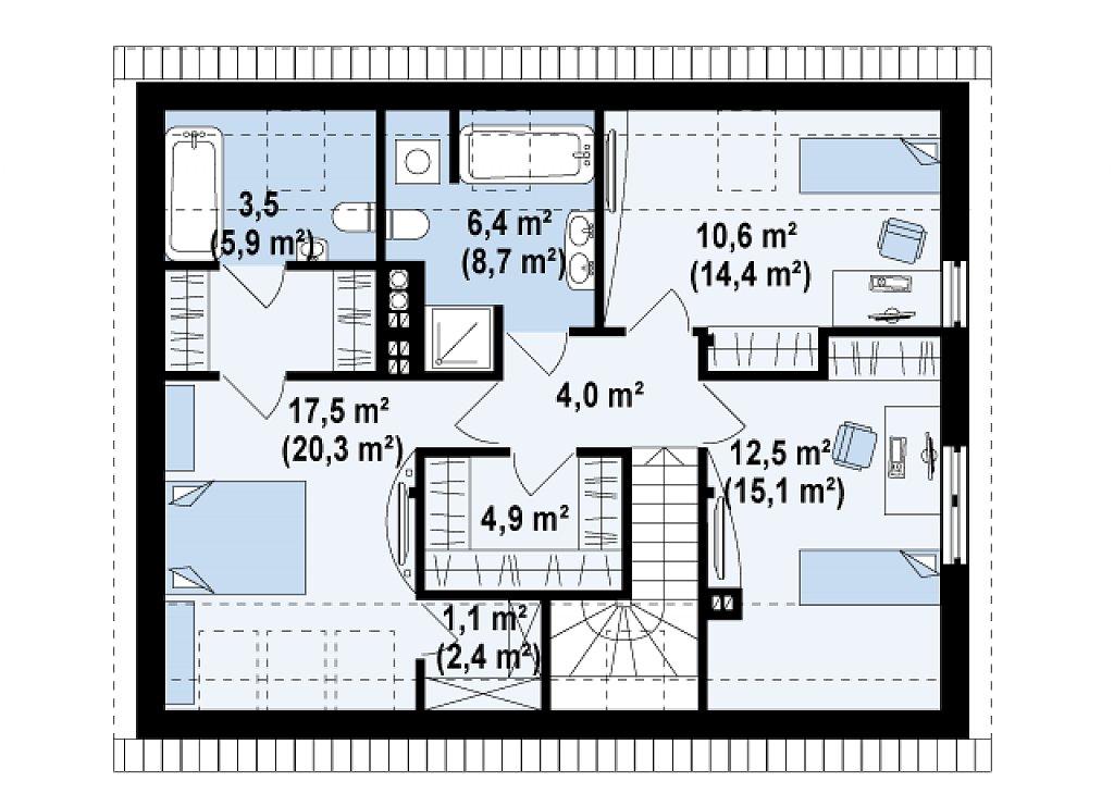 Функциональный традиционный дом с современными элементами в архитектуре, со встроенным гаражом. план помещений 2