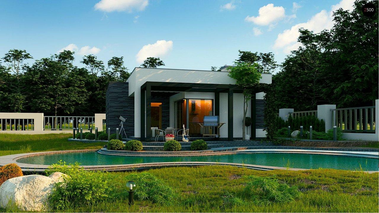 Небольшой современный одноэтажный проект дома с плоской кровлей - фото 3